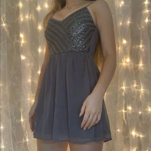 sequined gray silver party dress